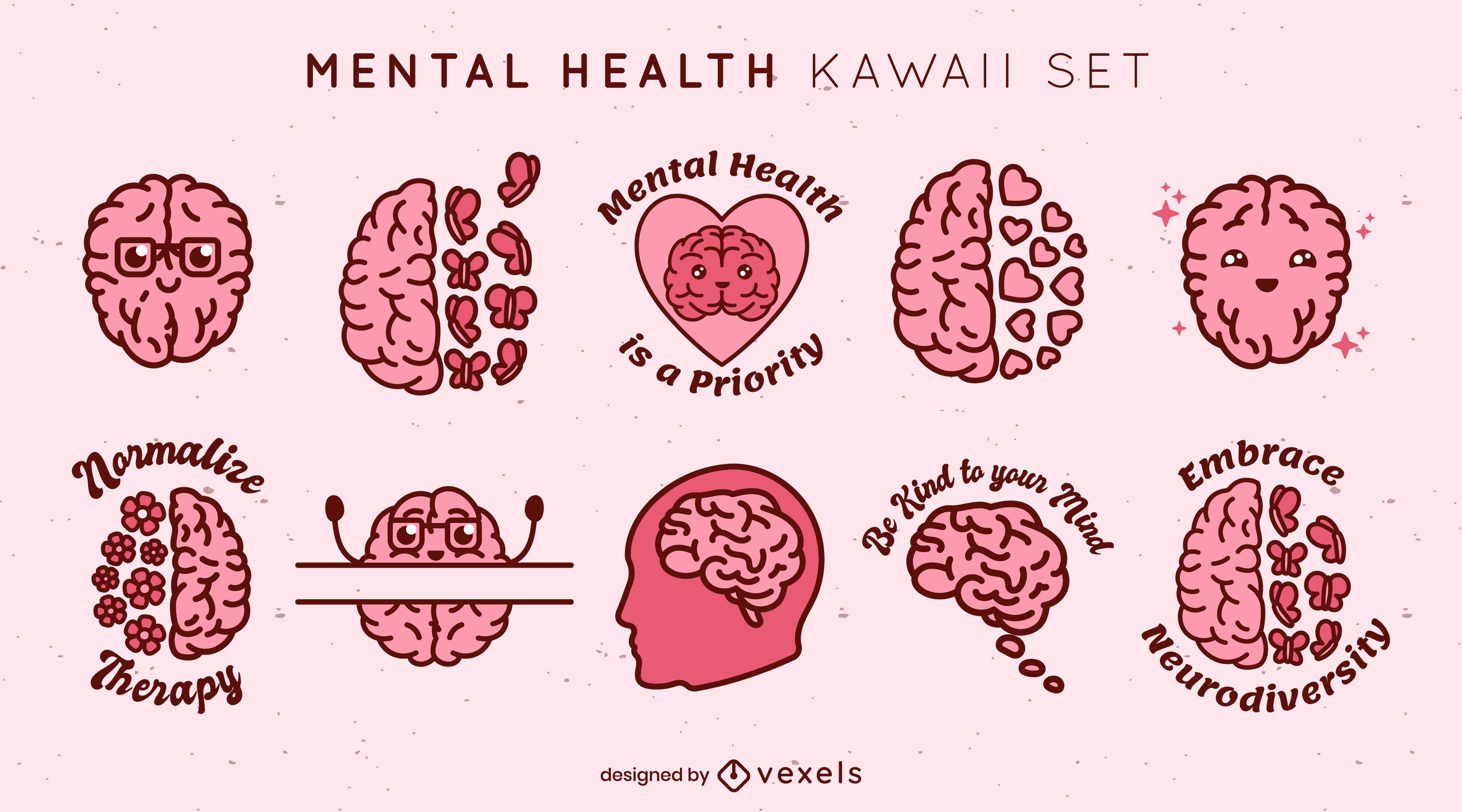 Conjunto de elementos kawaii de saúde mental
