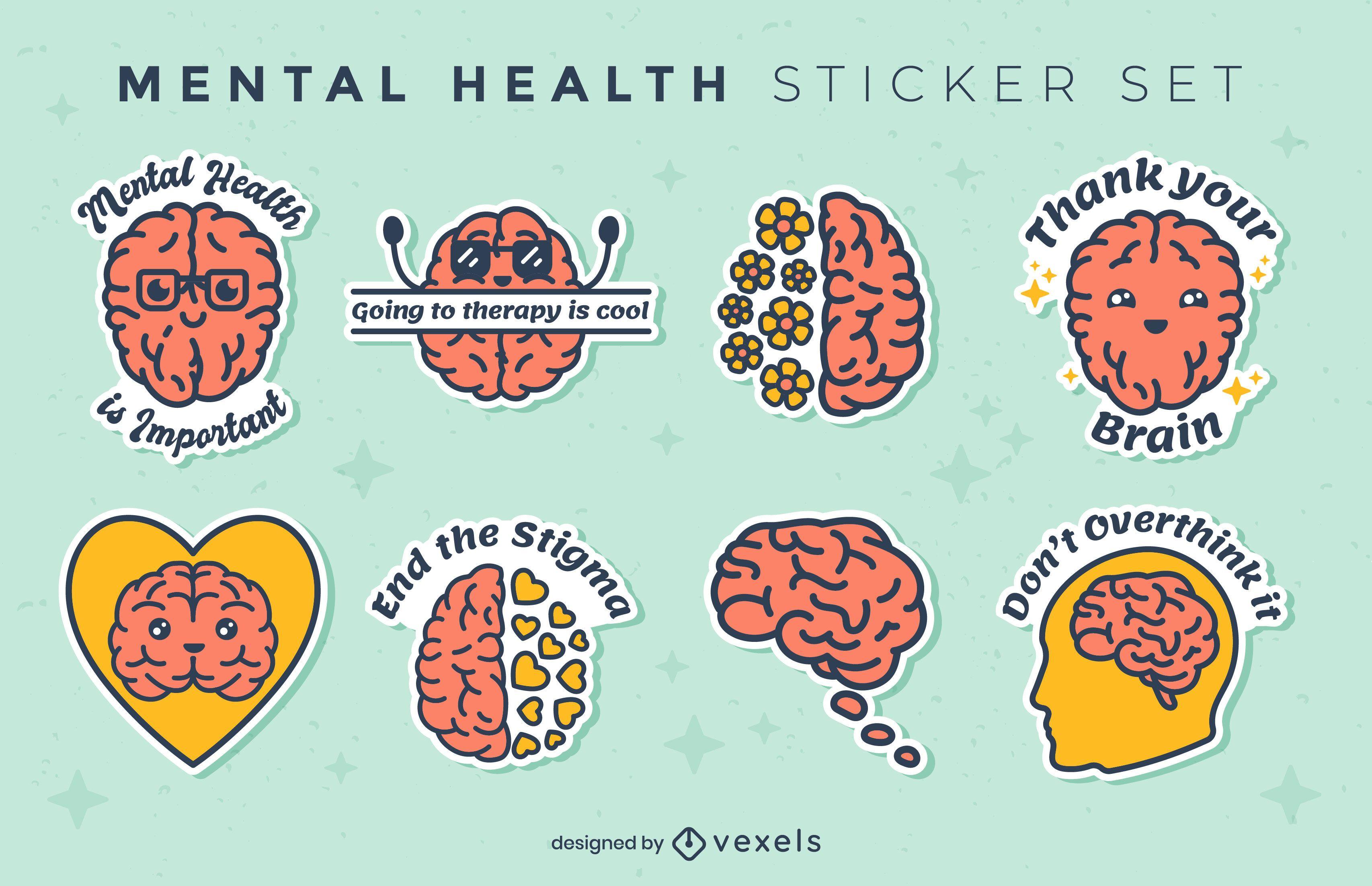Conjunto de pegatinas de trazo de color de salud mental
