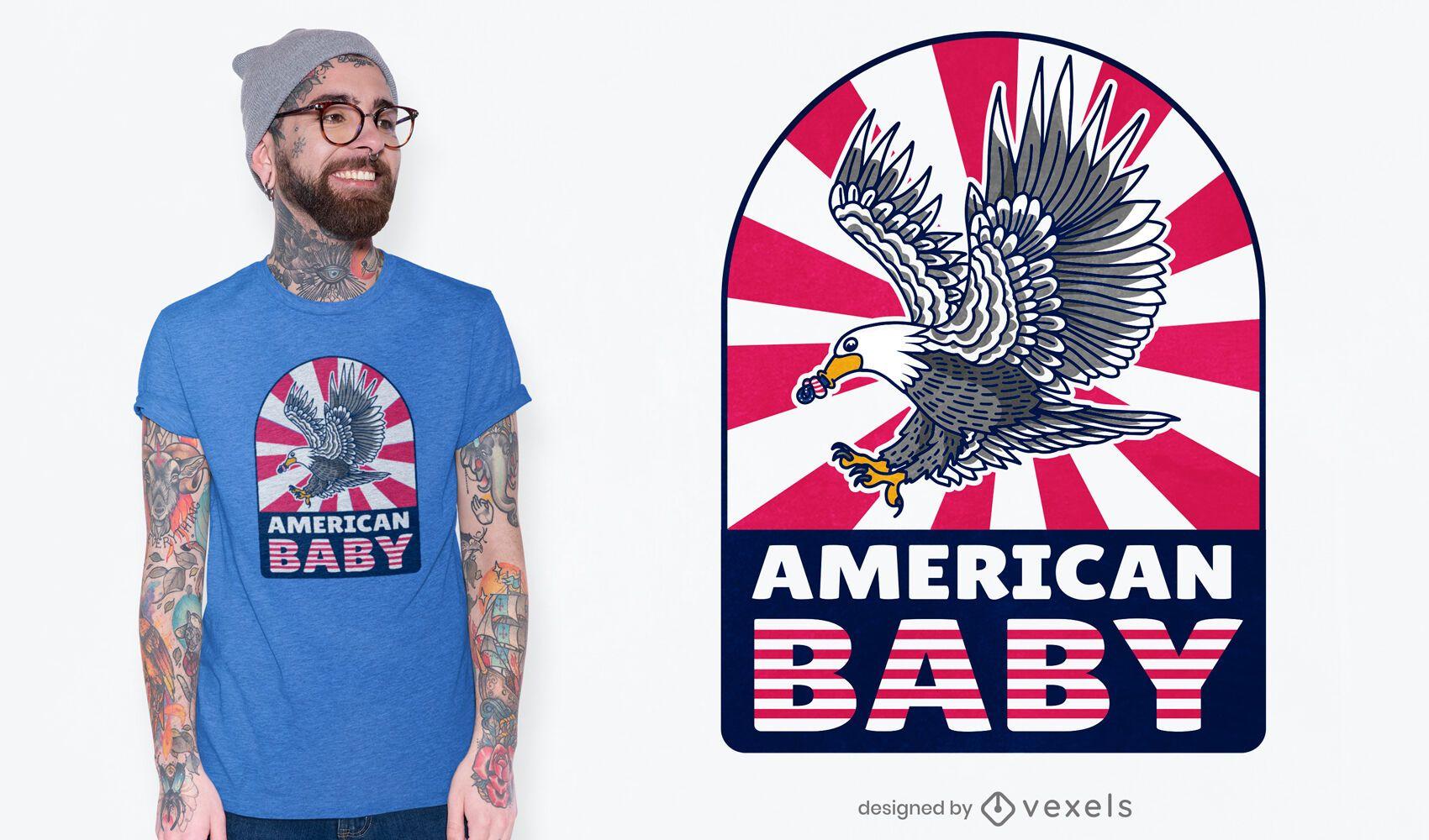 Diseño de camiseta de bebé estadounidense