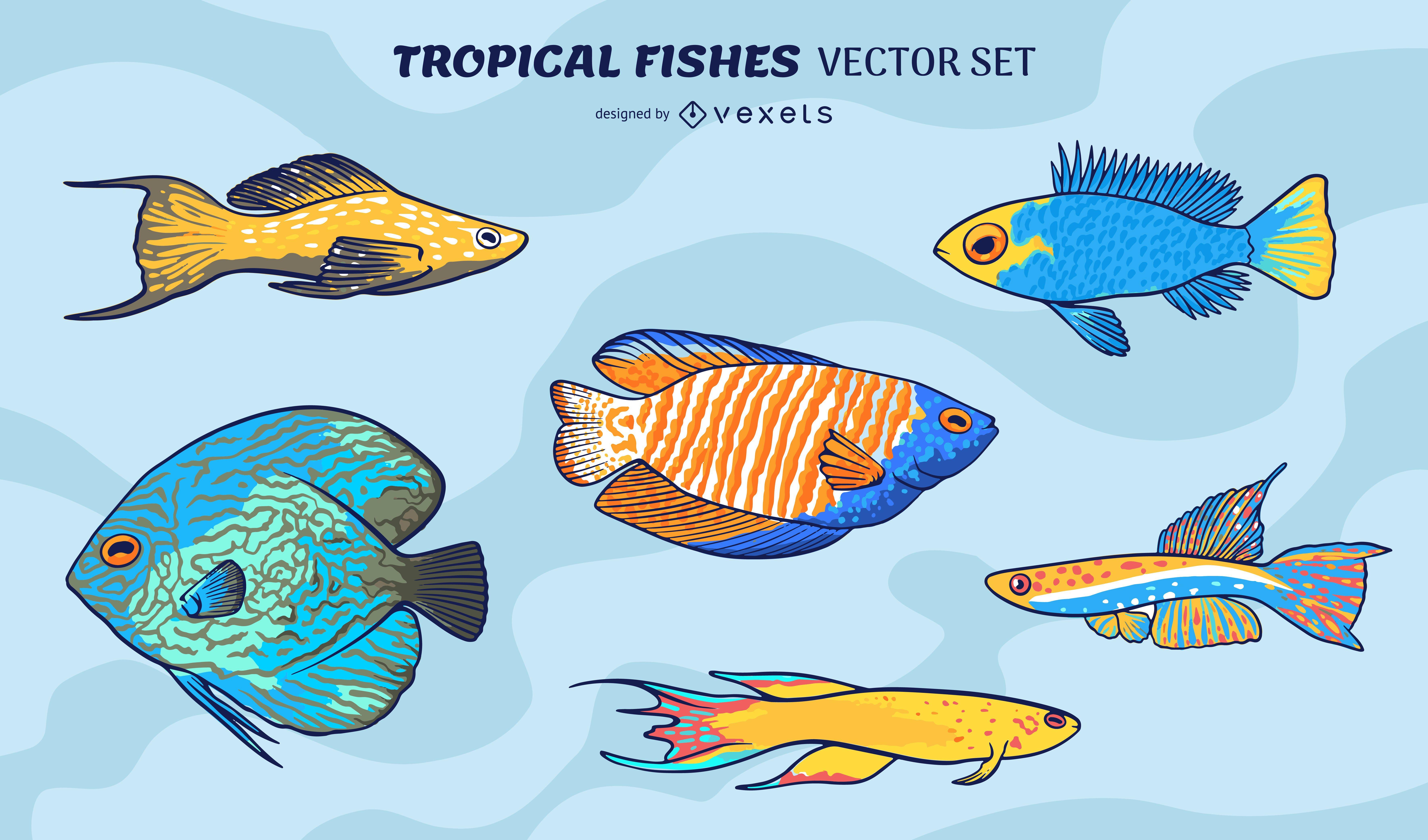 Fishes sea animals swimming set