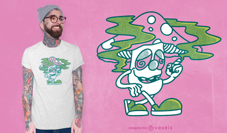 Diseño de camiseta de hierba de fumar hongos.