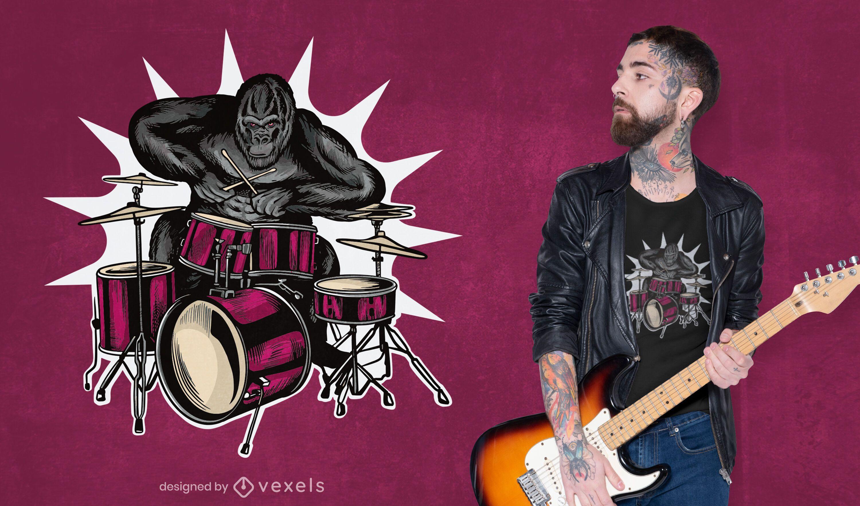 Gorila tocando bateria com design de camiseta musical