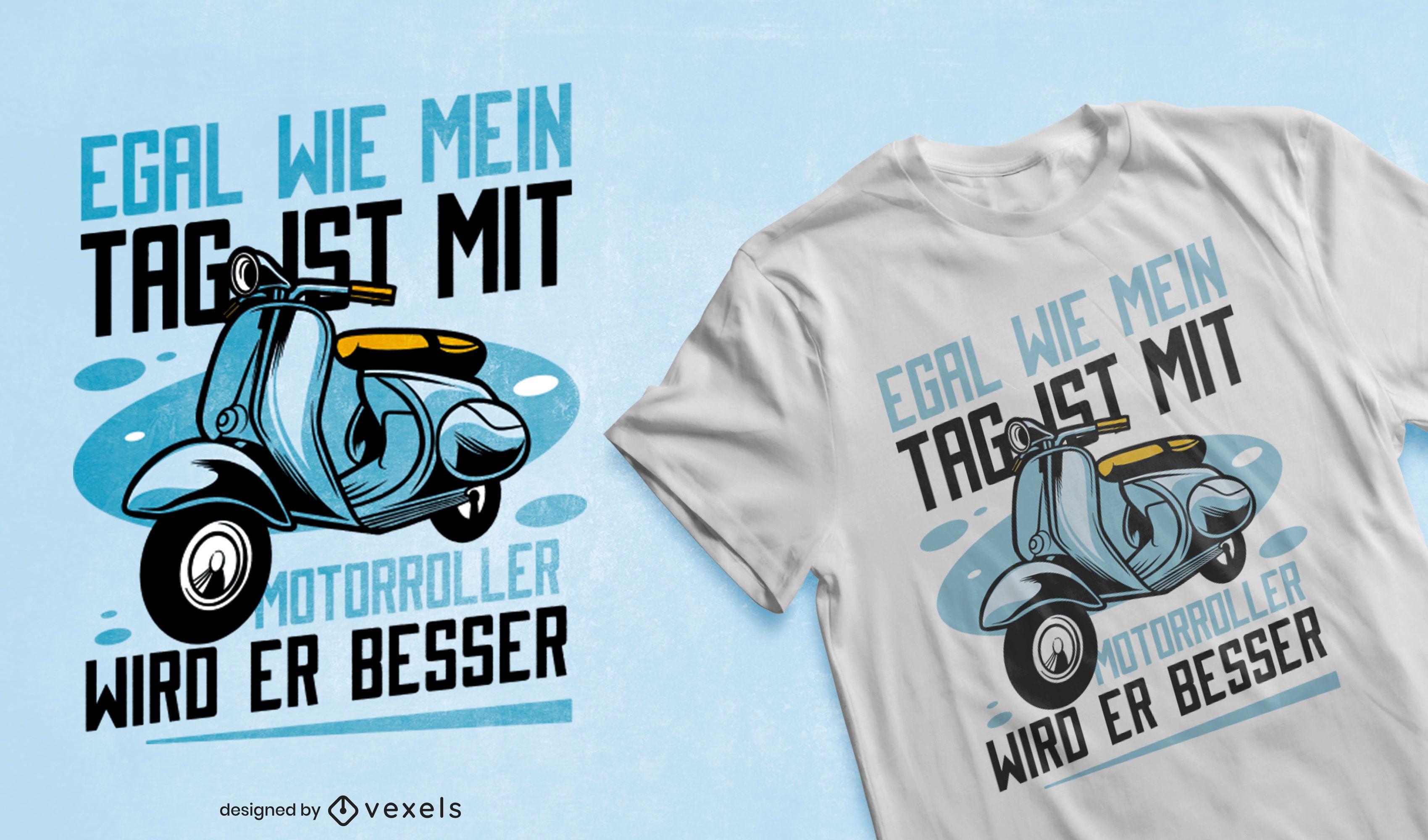 Diseño de camiseta de transporte de scooter azul.