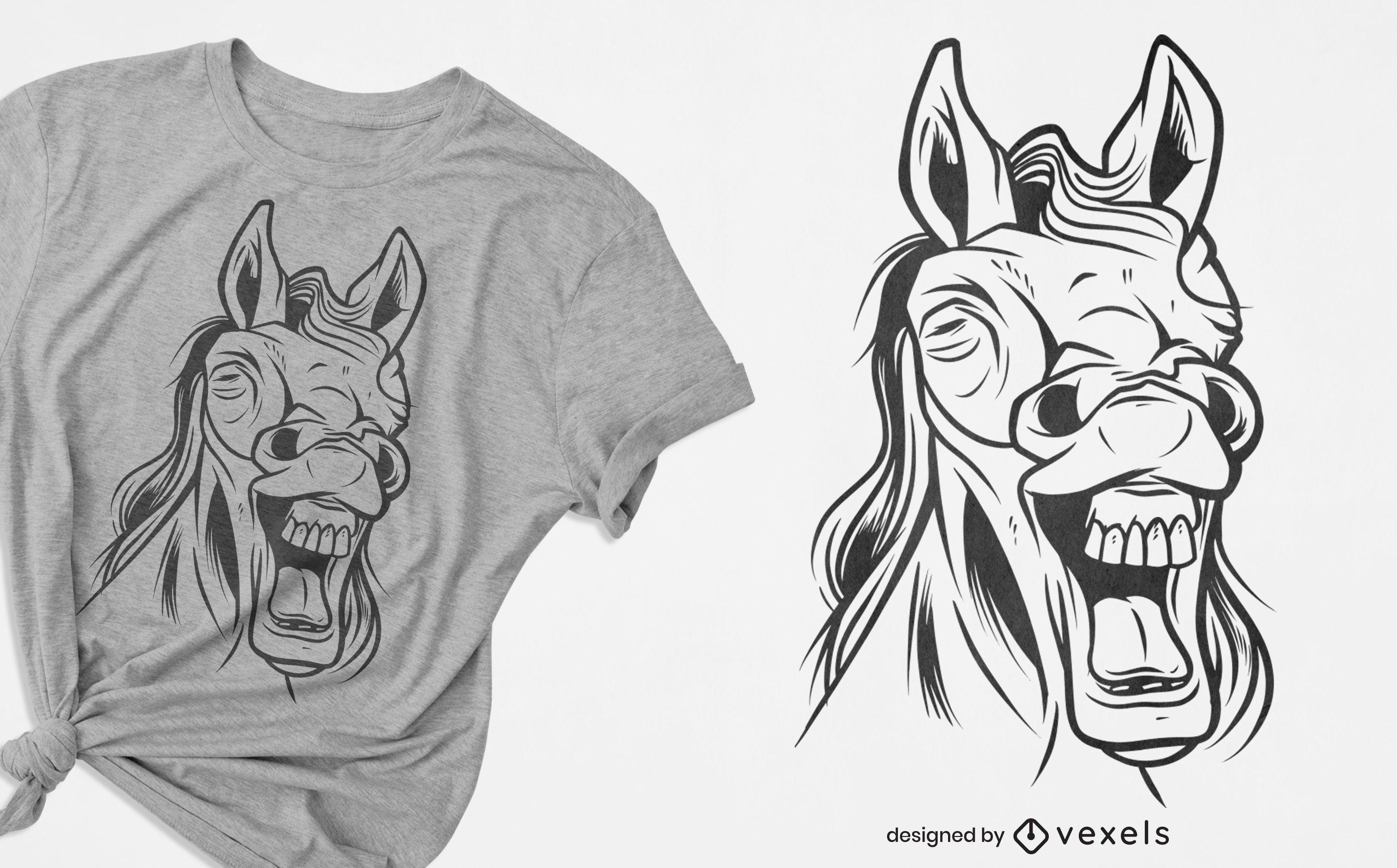 PEDIDO Design de camiseta do cavalo risonho