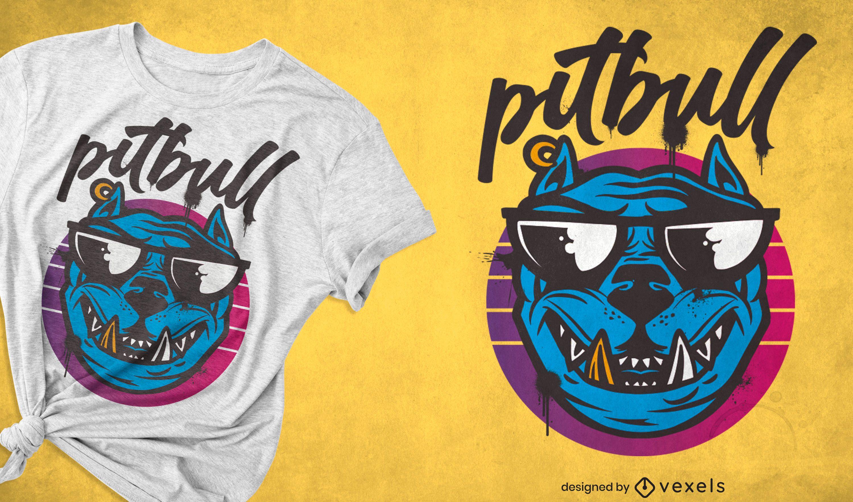 Pitbull Hund Sonnenbrille Cartoon T-Shirt
