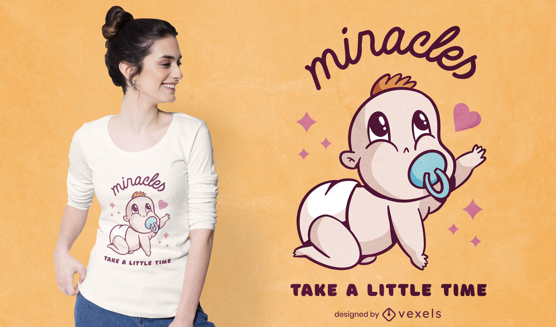 Diseño de camiseta de bebé de dibujos animados gateando