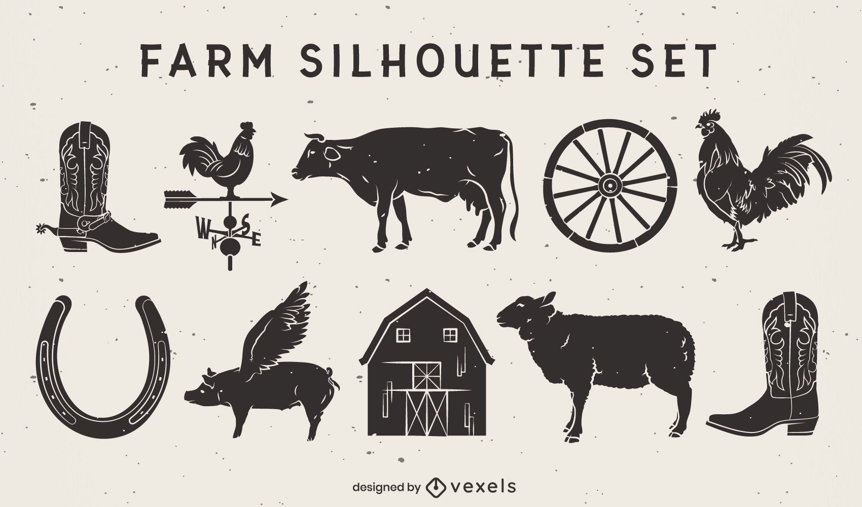 Bauernhoftiere und Elemente ausgeschnittenes Set