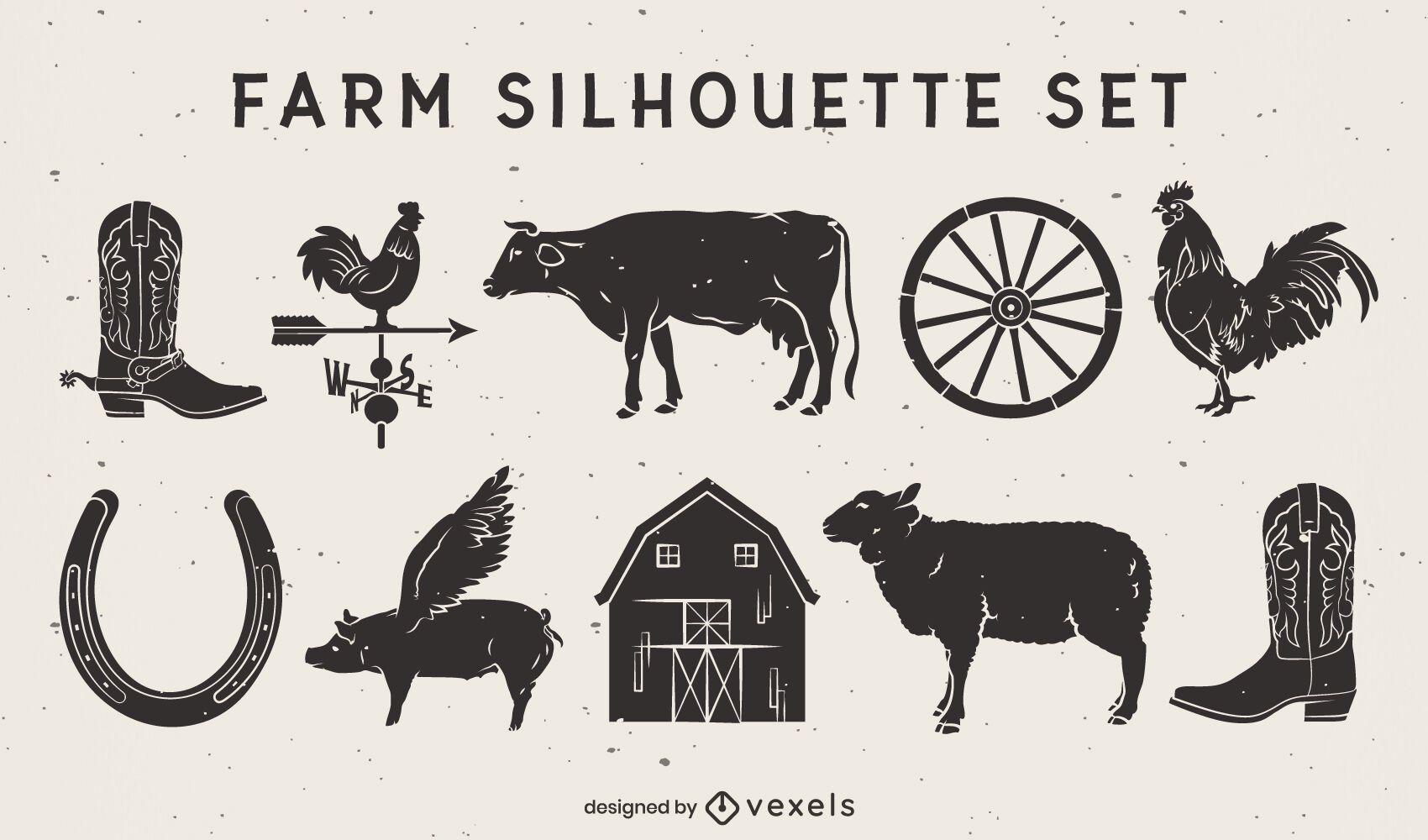 Conjunto de recortes de animais e elementos da fazenda