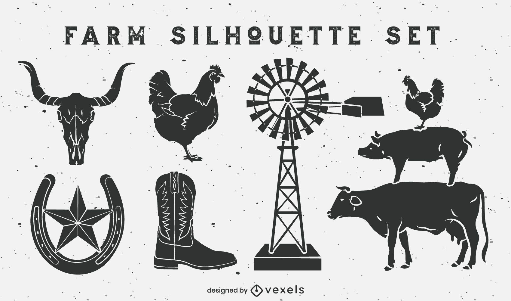 Conjunto de elementos de rancho de fazenda recortado