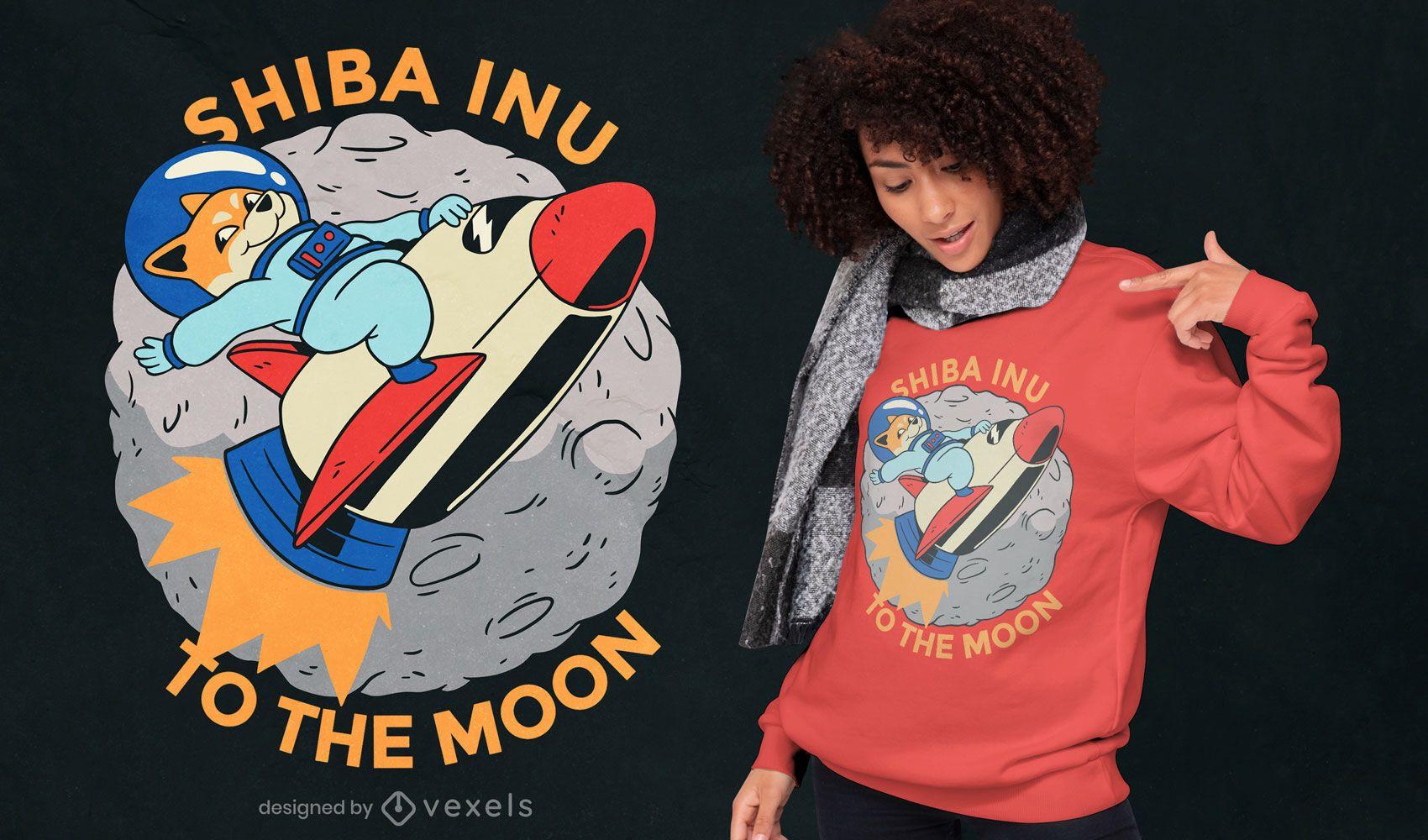 Design de t-shirt da moeda Shiba Inu para a lua