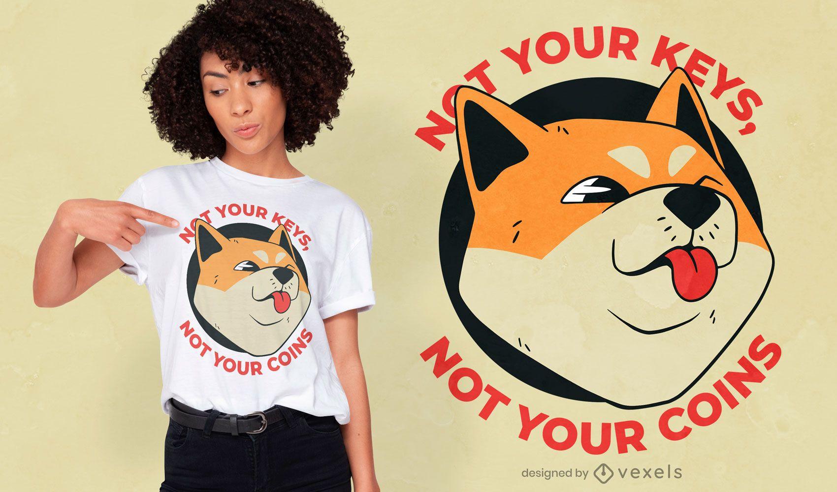 Diseño de camiseta con cita divertida de moneda Shiba Inu