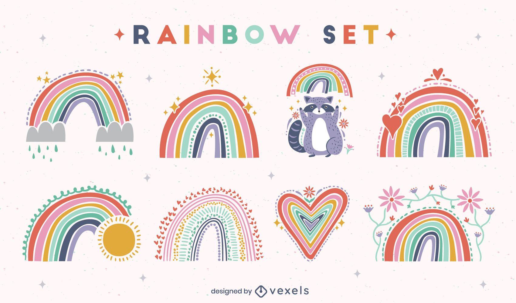 Conjunto de arco-íris desenhados à mão plana