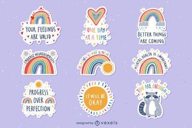 Mental health rainbows set of stickers