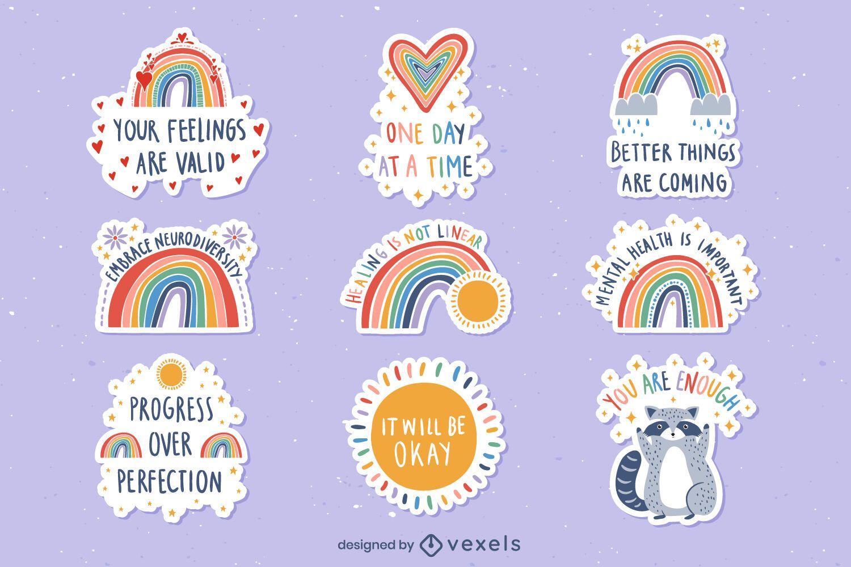 Regenbogen-Set von Aufklebern für psychische Gesundheit
