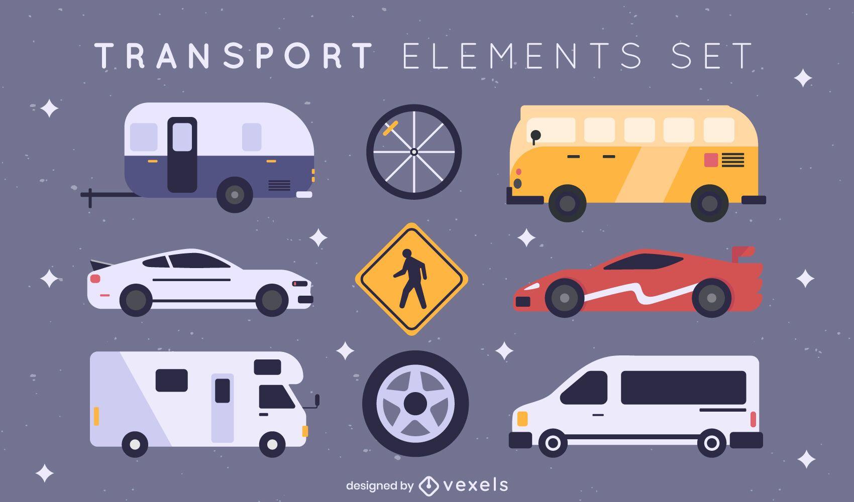 Conjunto legal de elementos de transporte planos