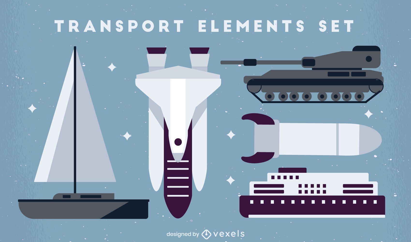Flat set of transport elements