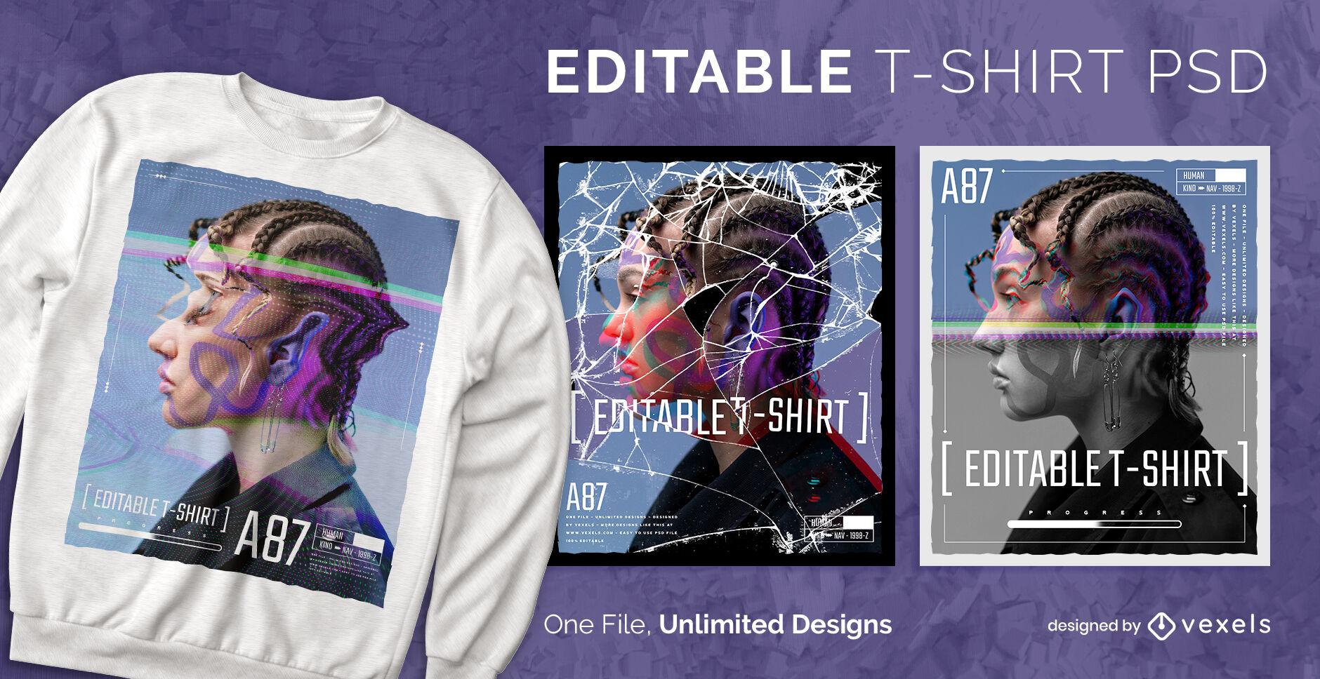Digitalfotos skalierbares T-Shirt PSD
