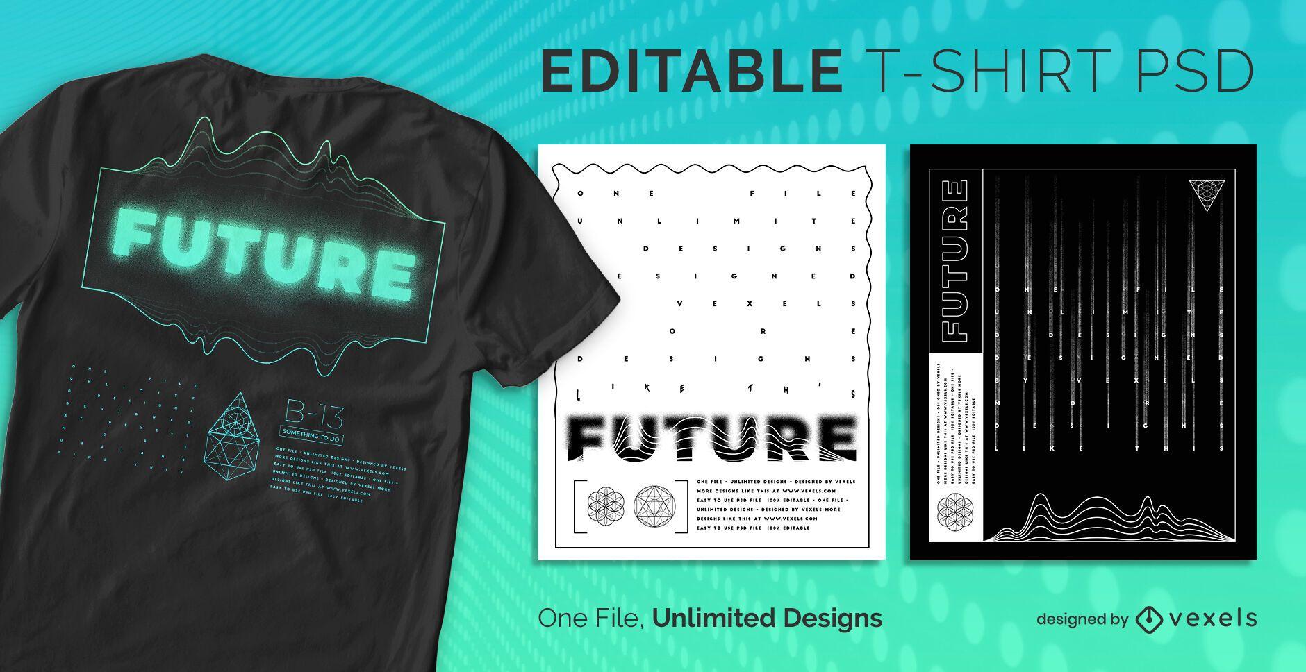 Minimalistisches futuristisches skalierbares T-Shirt PSD