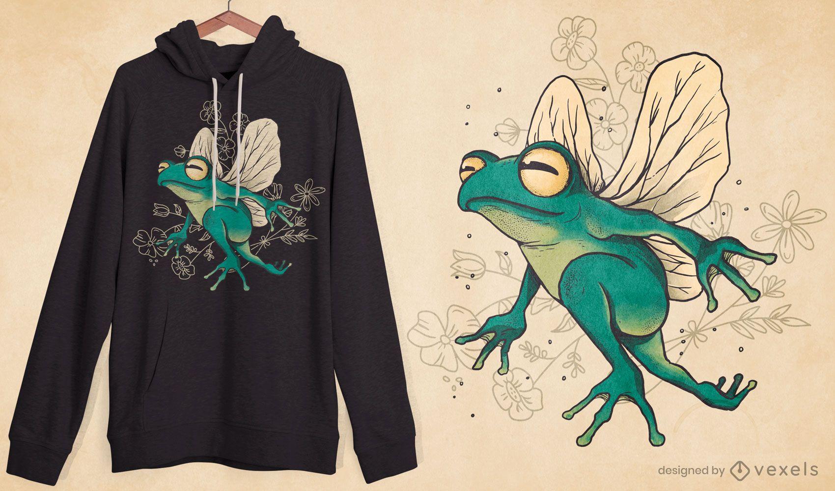 Diseño de camiseta de rana de hadas con alas.