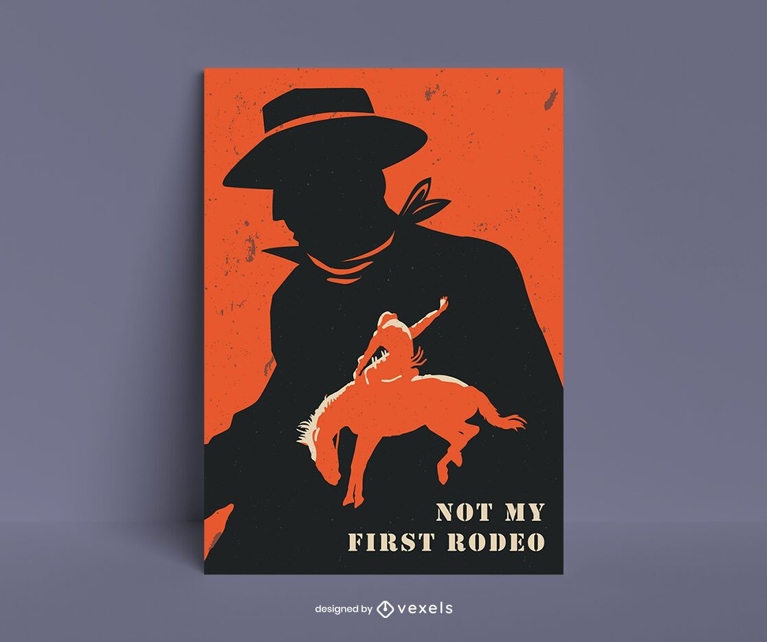 Cowboy rodeo silhouettes poster design