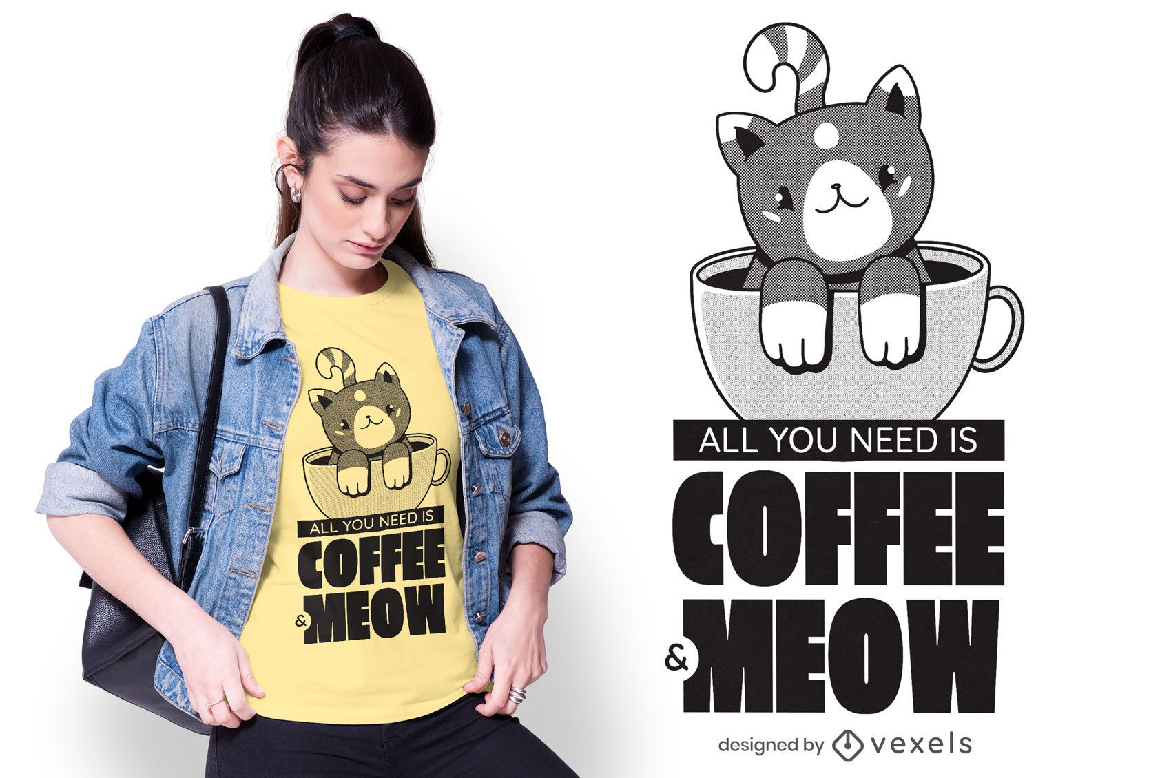 Camiseta de citações para amantes de café e gato