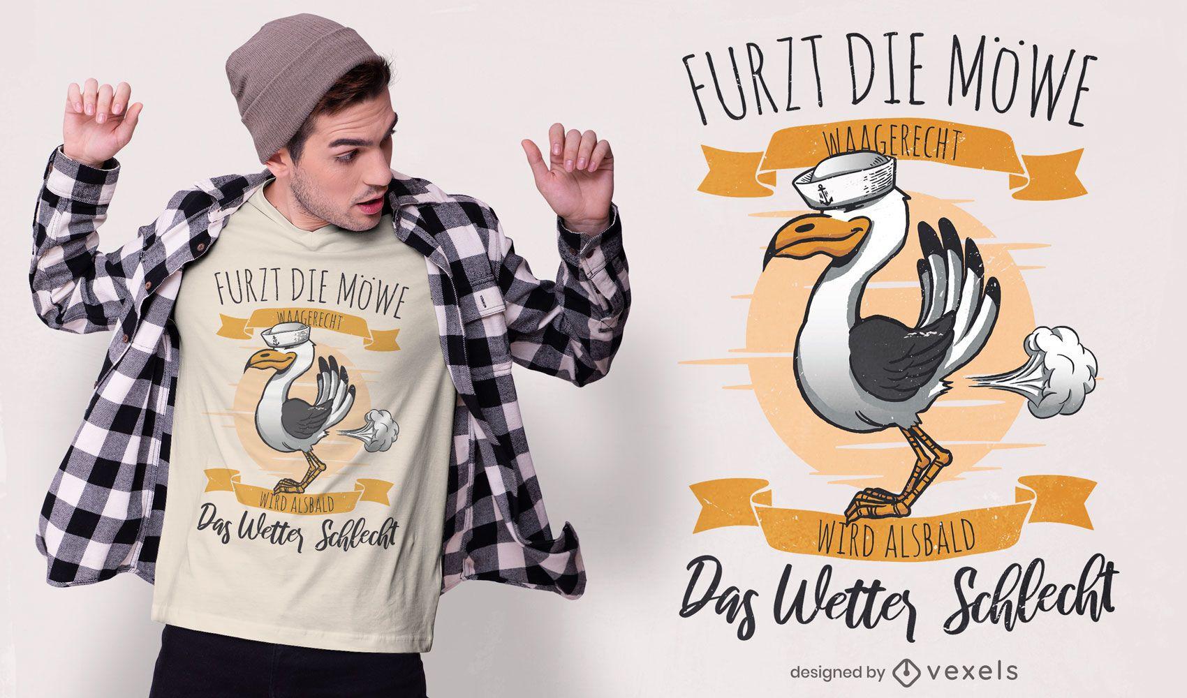 Projeto de camiseta com citações alemãs do tempo da gaivota