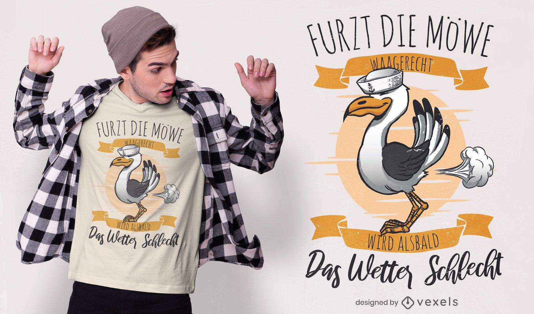 Seagull weather German quote t-shirt design