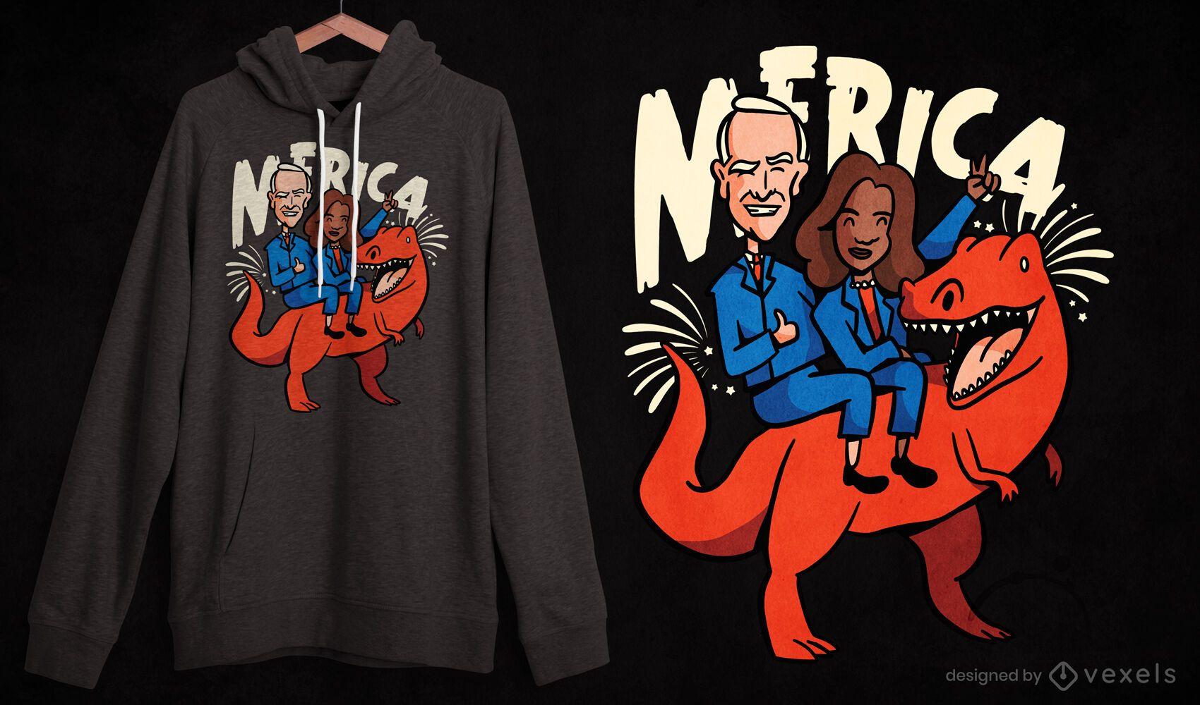 Politics parody t-rex dinosaur t-shirt design