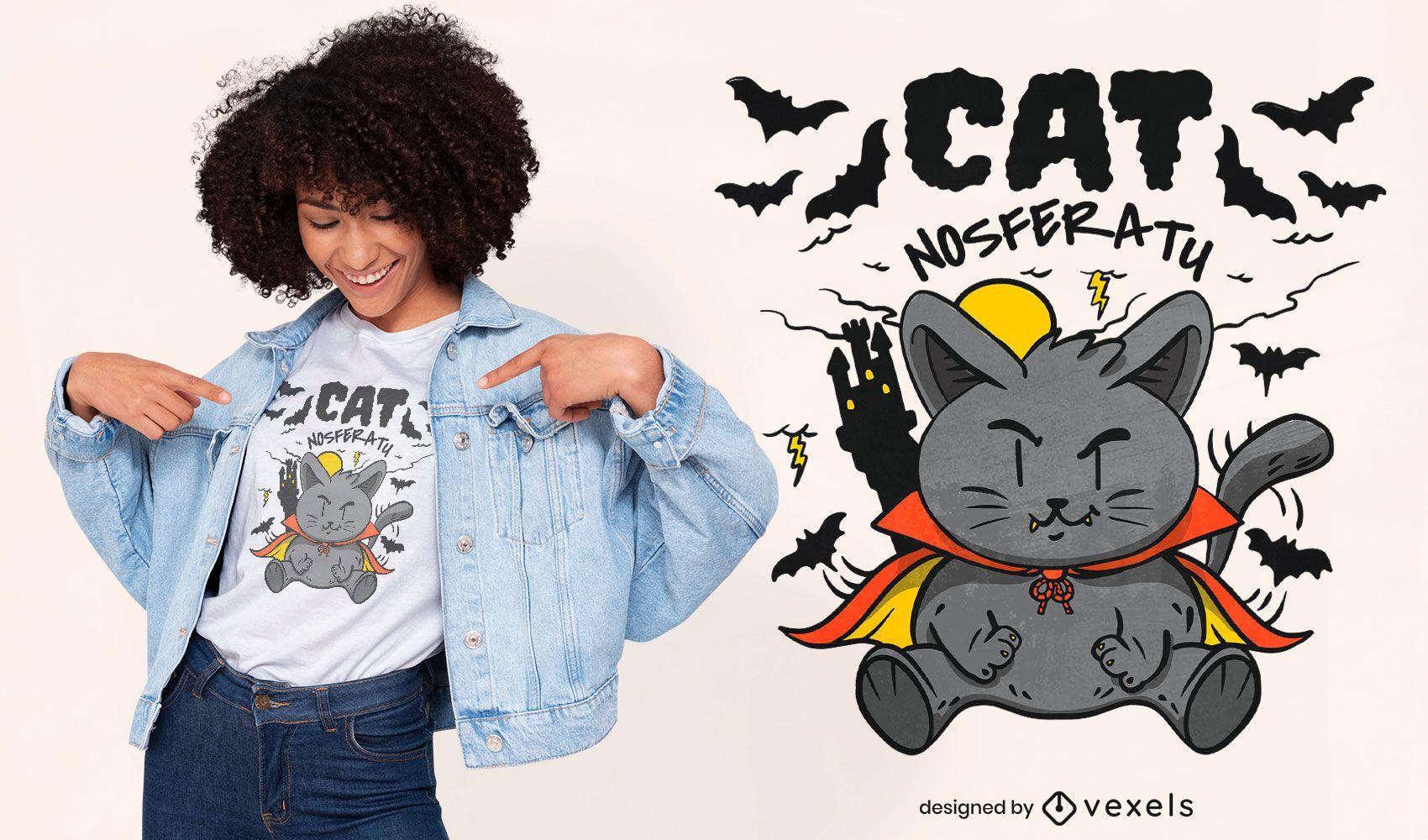 Diseño de camiseta de dibujos animados de gato vampiro Nosferatu