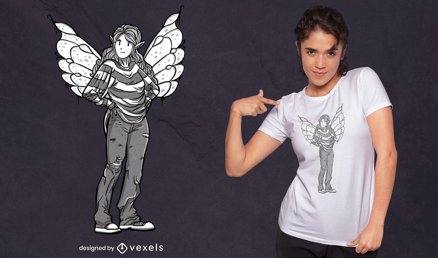 Diseño de camiseta de niña de hadas informal y moderno.