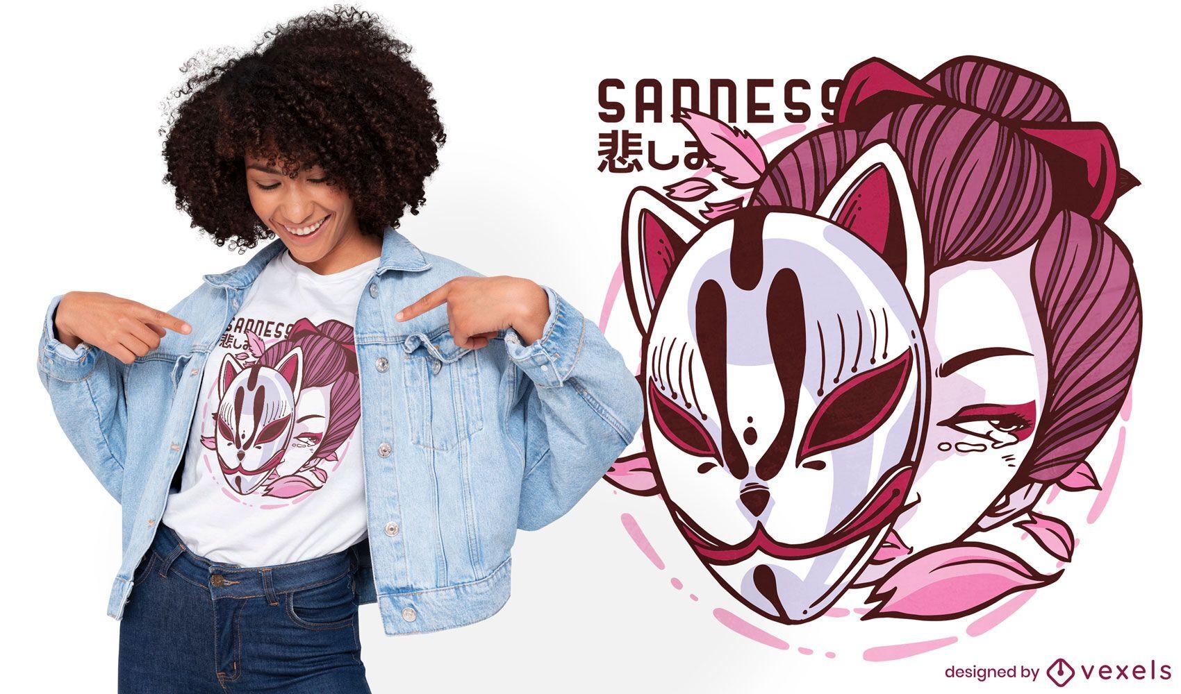 Japanese woman kitsune mask t-shirt design