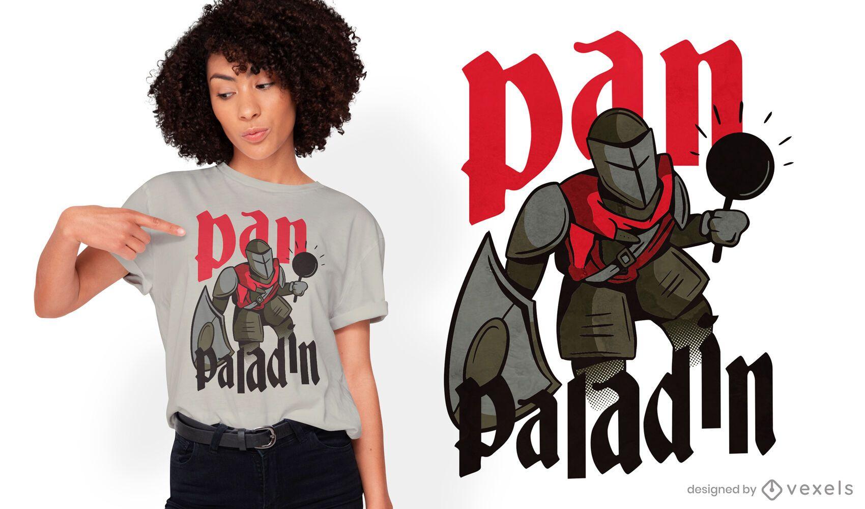 Paladin-RPG-Charakter mit Pan-T-Shirt-Design