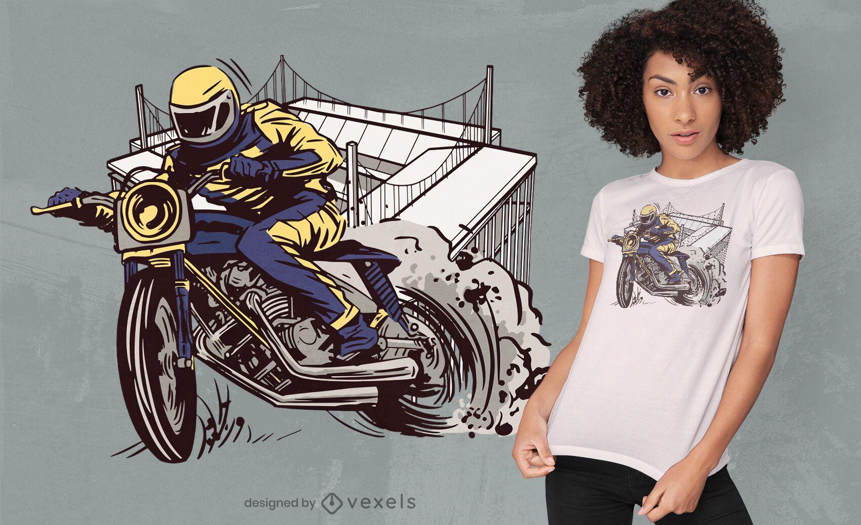 Diseño de camiseta de traje de montar en motocicleta que acelera.