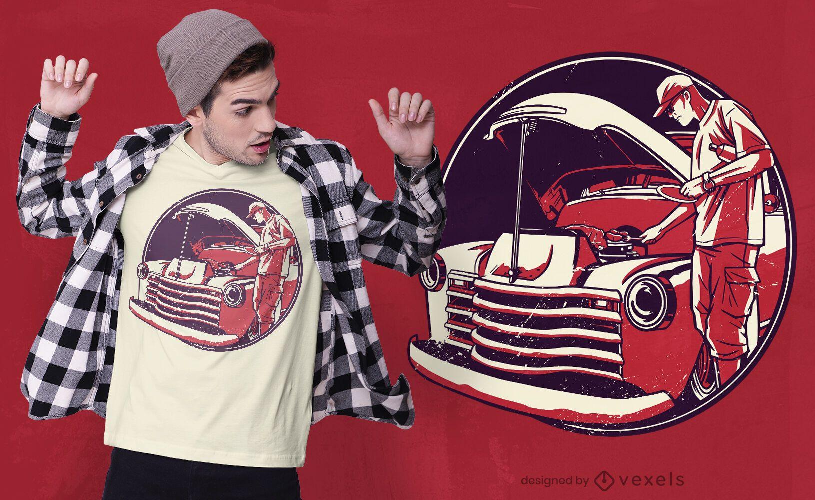 BBQ in vintage car motor t-shirt design