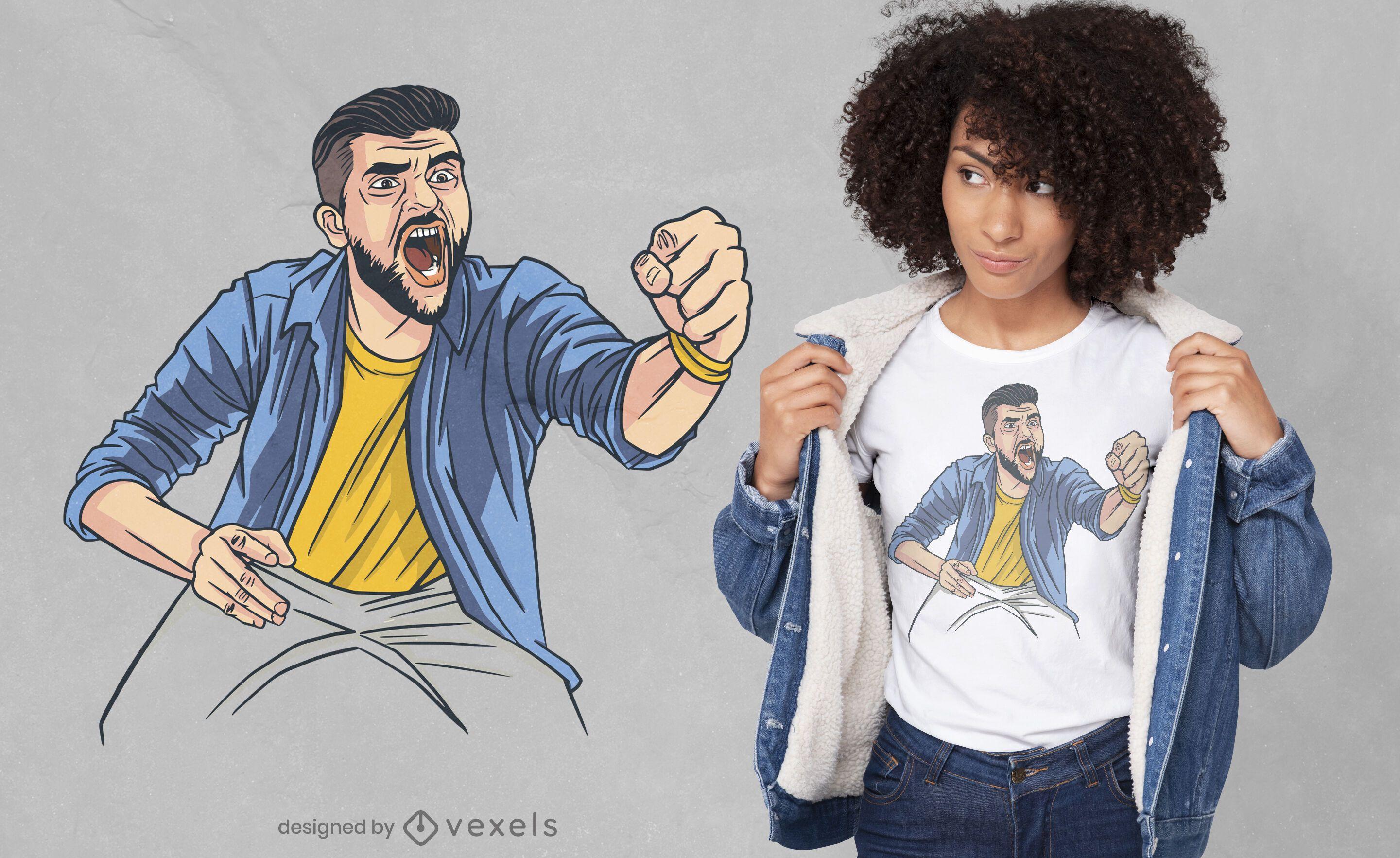 Hombre enojado con diseño de camiseta de puño cerrado