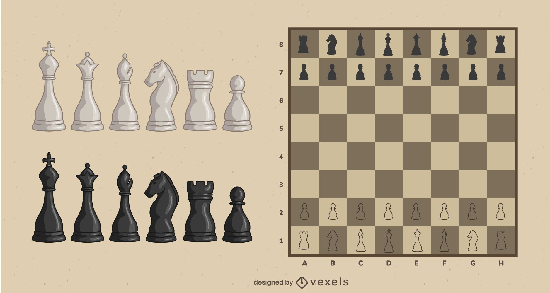 Classic illustrated chess pieces set