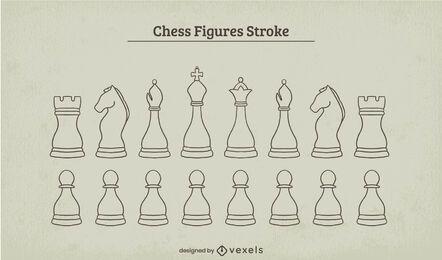 Juego de trazos de piezas de ajedrez clásico