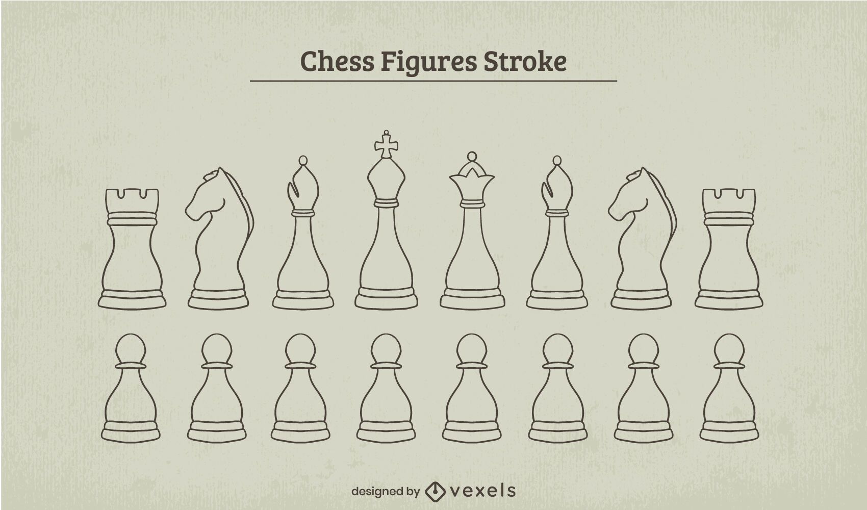 Classic chess pieces stroke set