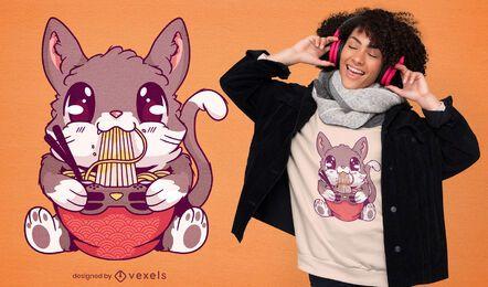 Kawaii kitten eating ramen t-shirt design