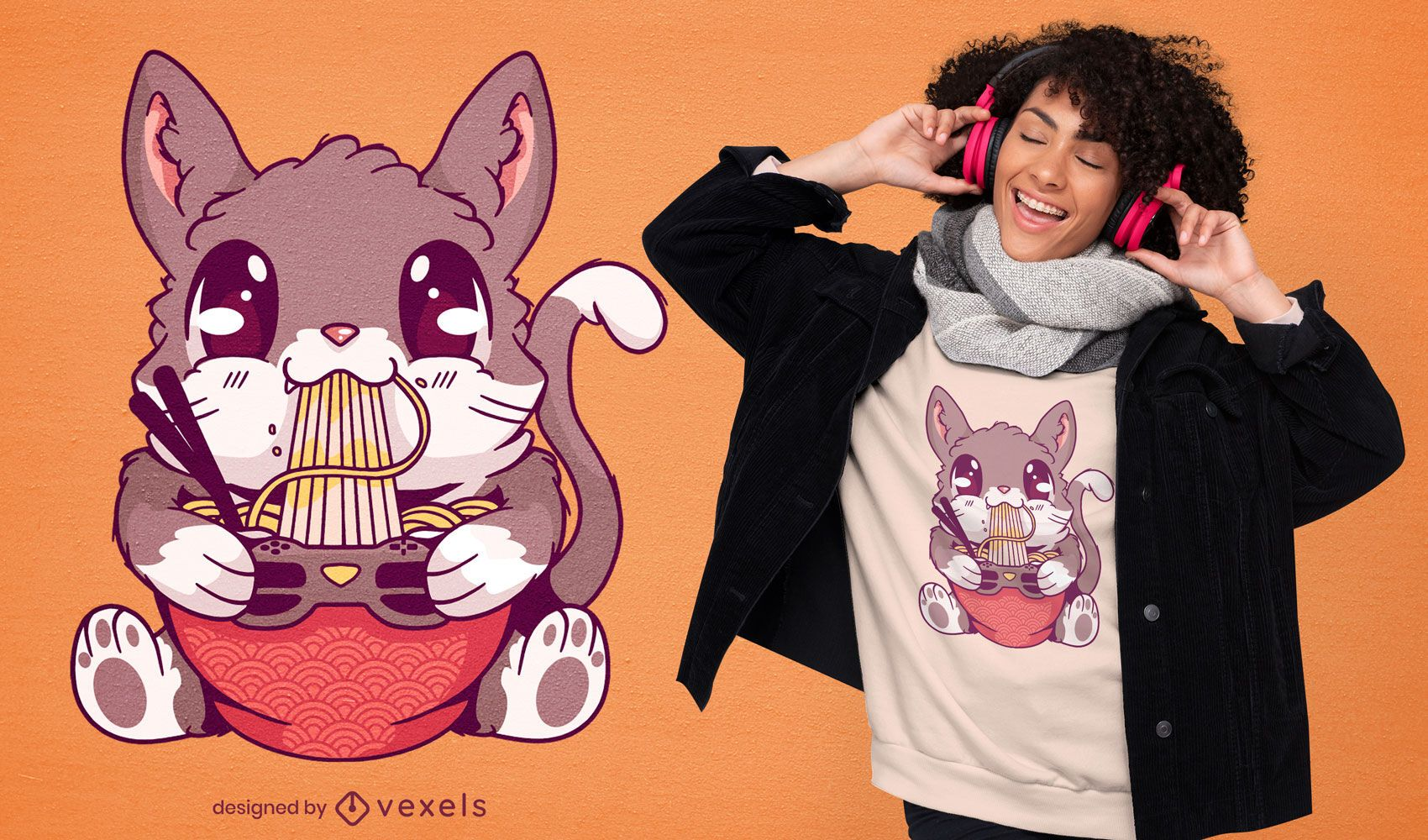 Diseño de camiseta kawaii gatito comiendo ramen