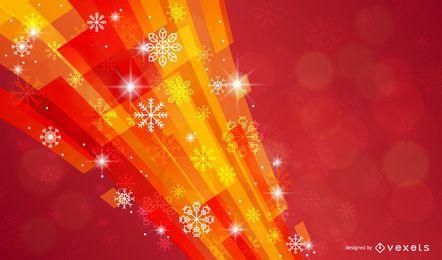 Fundo de natal com flocos de neve e formas coloridas