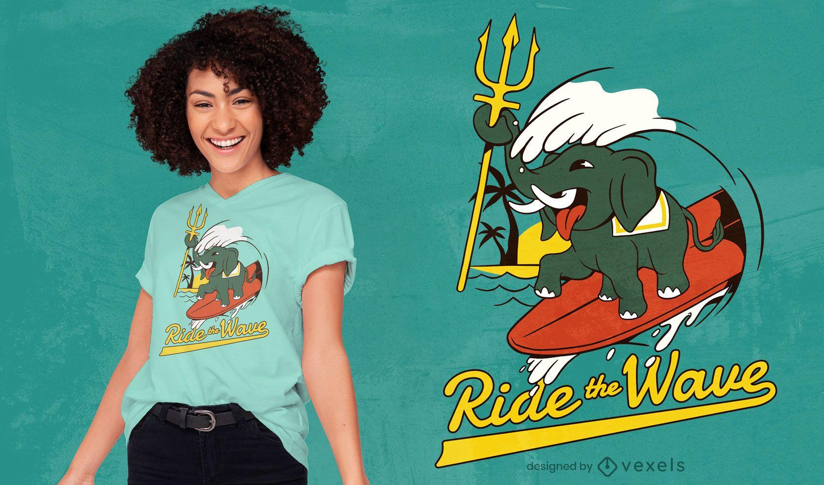 Design de t-shirt com paródia de elefante surfando