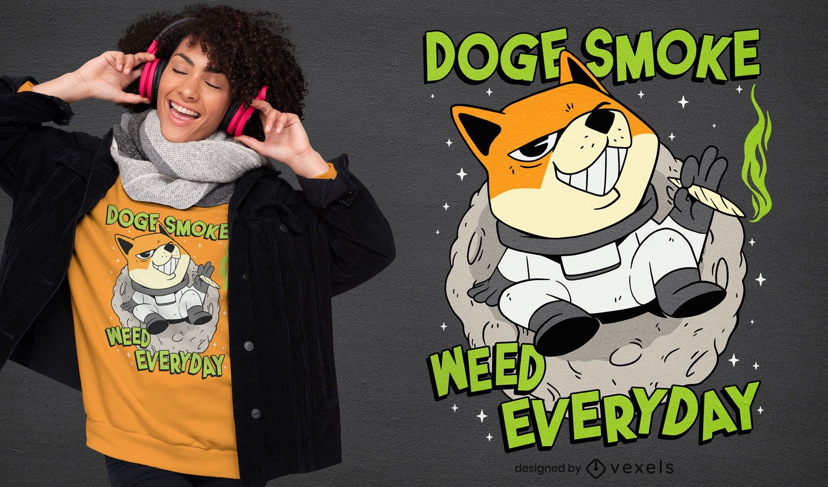 Doge fumando maconha no design de camiseta espacial