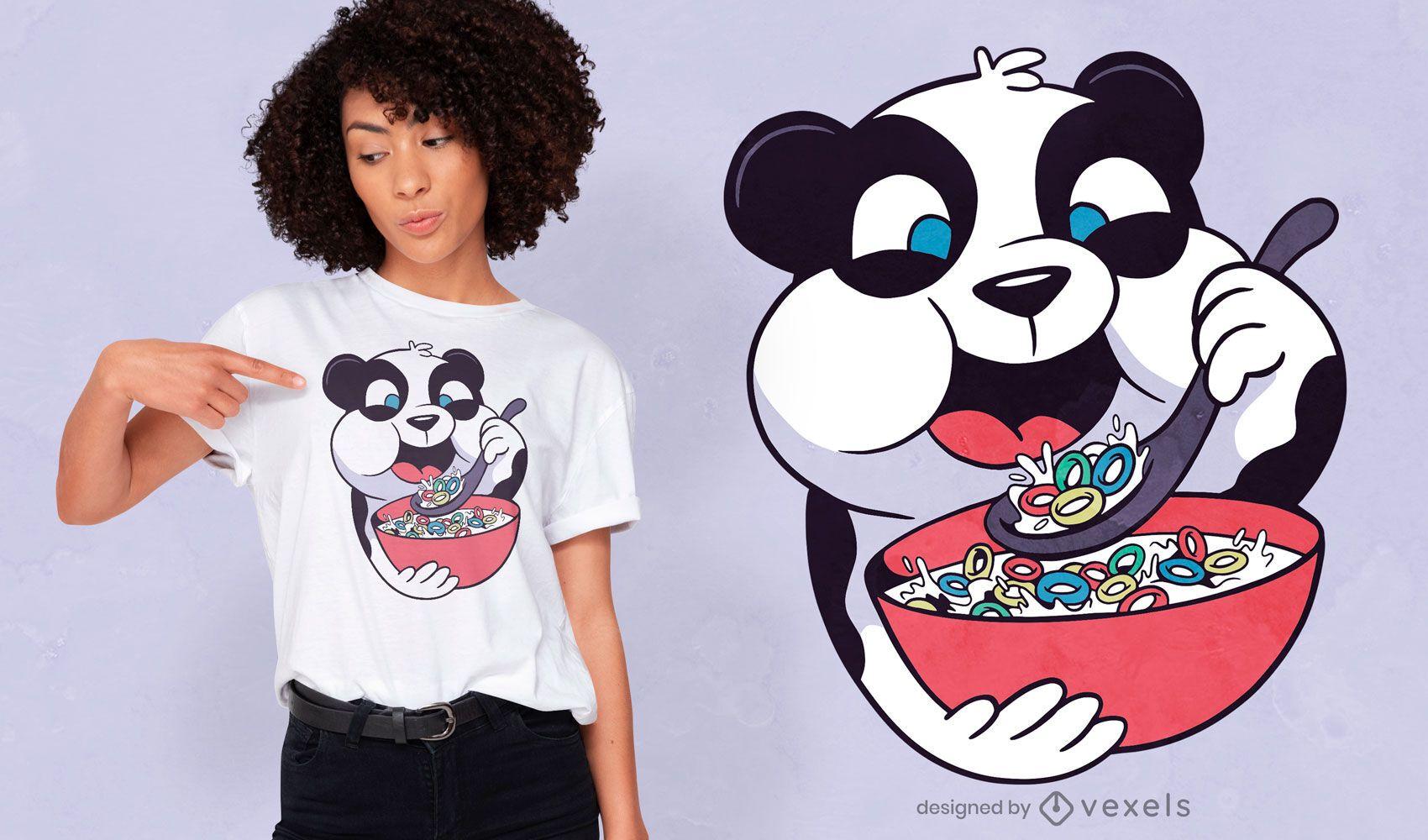 Cute panda eating cereal t-shirt design