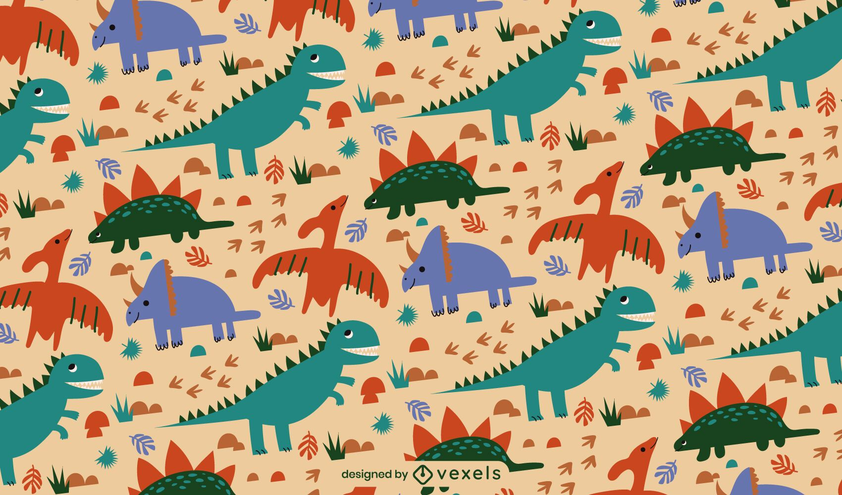 Dinosaur animals jurassic pattern design