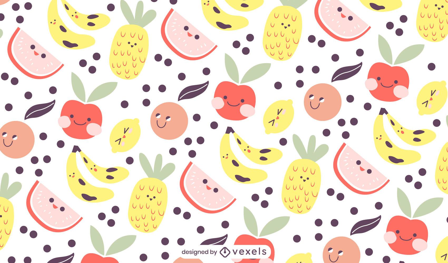 Baby fruit healthy food cute pattern design
