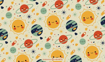 Cute baby planets space pattern design