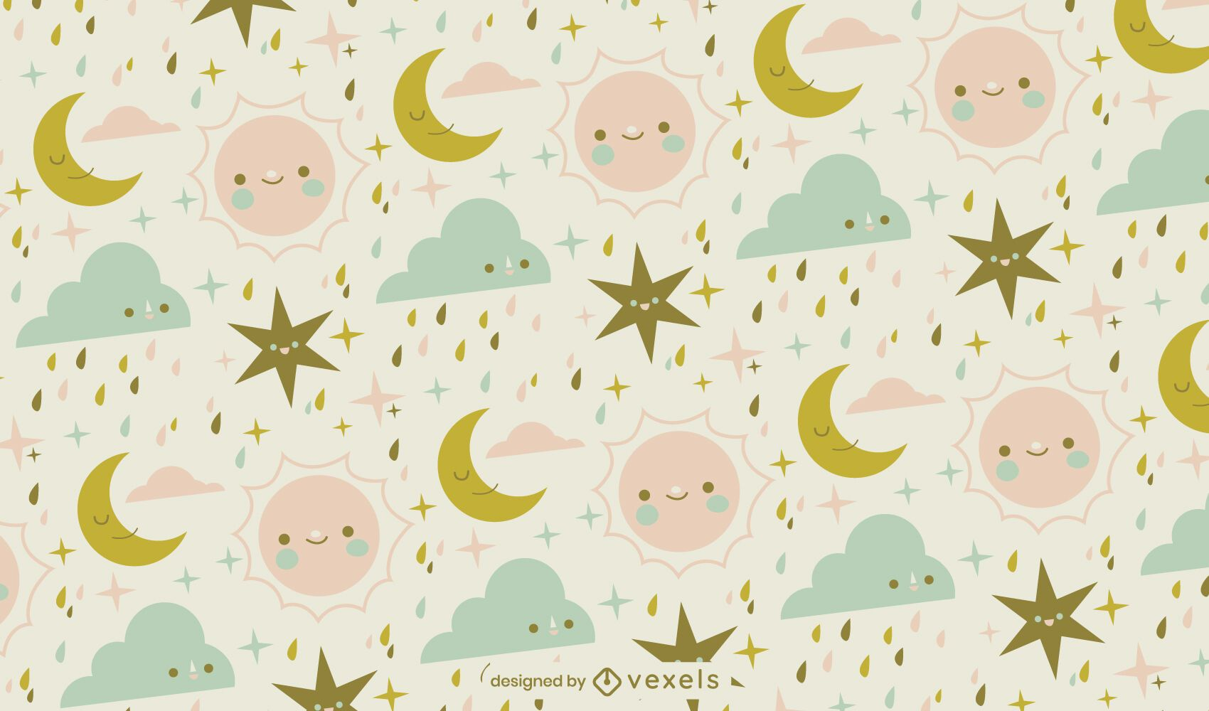 Cute baby sun and moon sky pattern design