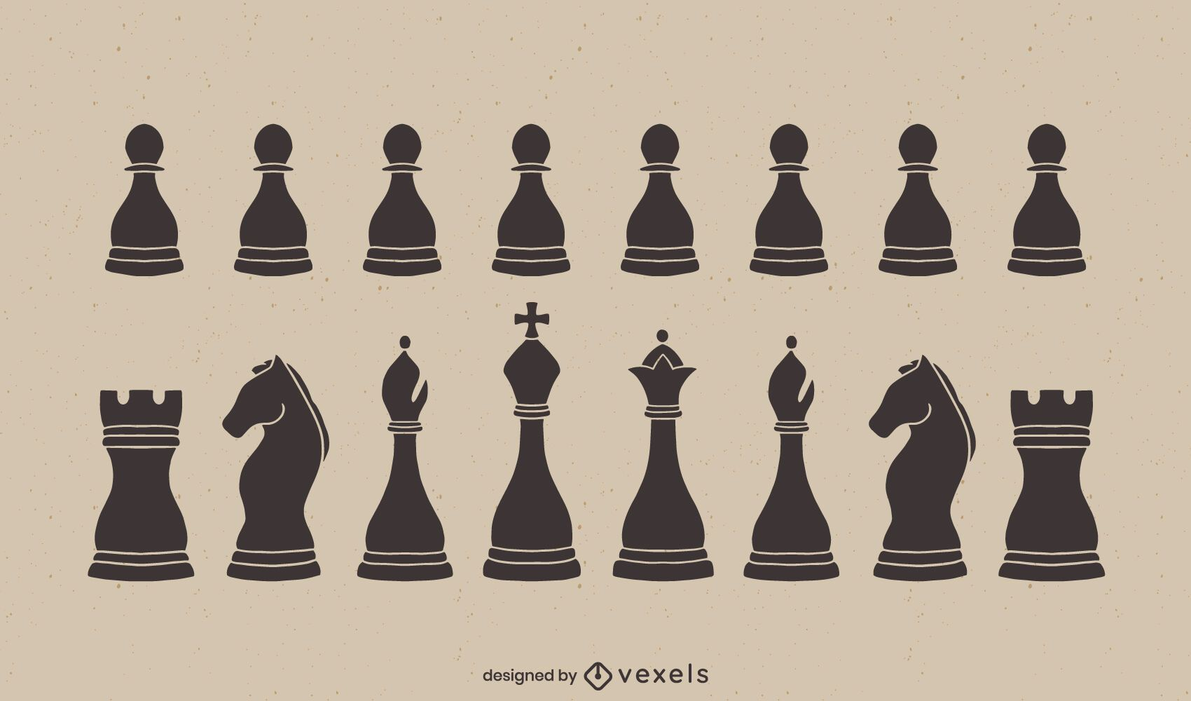 Classic chess pieces cut out set