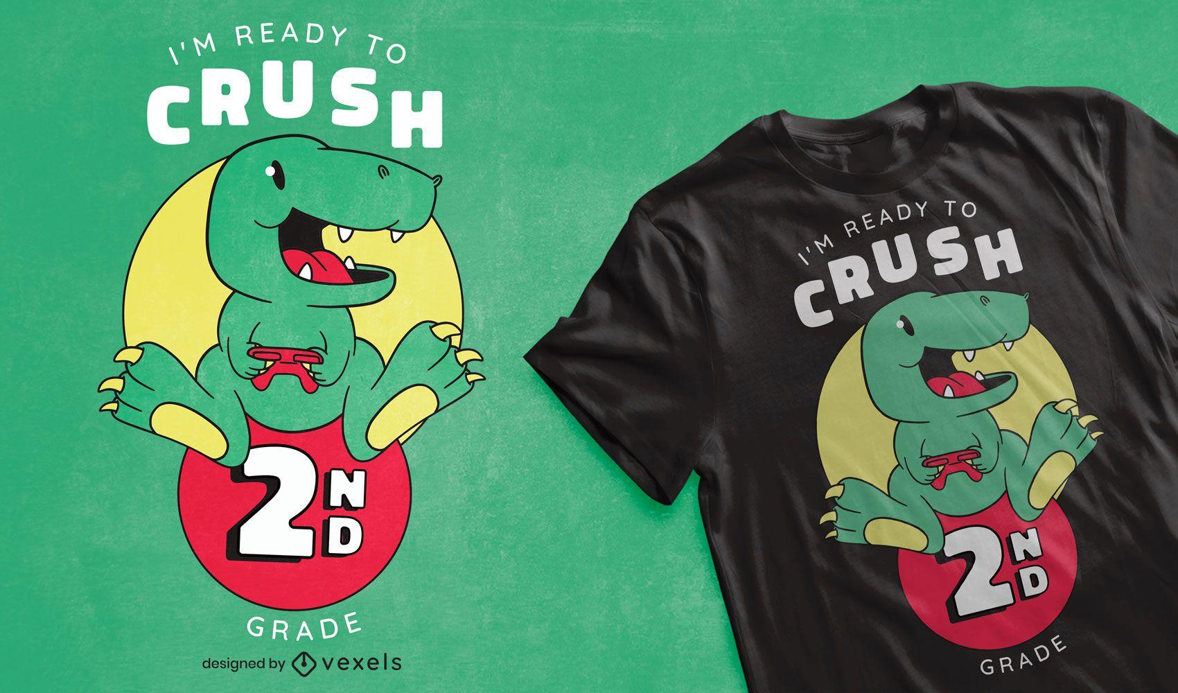 Design de camiseta da escola de dinossauro fofa para jogos